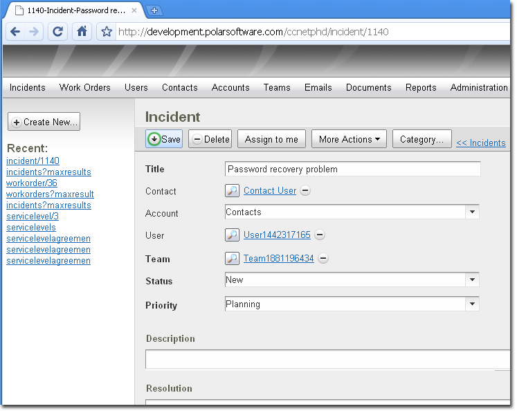 Web based help desk that tracks incidents integrates with e-mail and more. Screen Shot